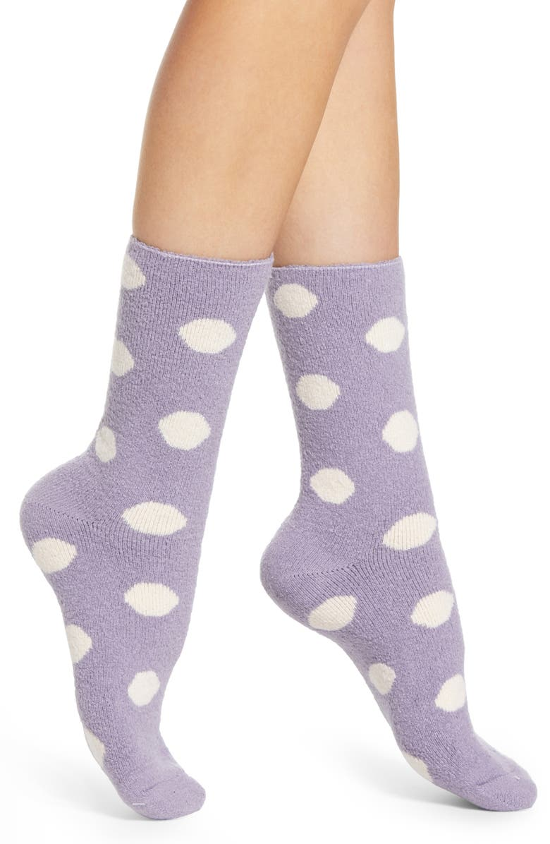 NORDSTROM French Terry Crew Socks, Main, color, PURPLE PEACE POLKA DOT