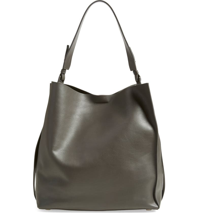 ALLSAINTS 'Paradise North/South' Leather Tote, Main, color, SLATE GREY