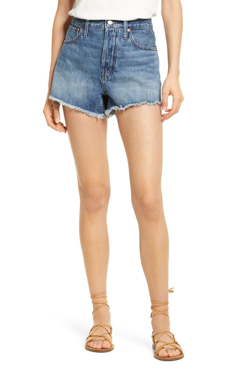 MADEWELL Relaxed Cutoff Denim Shorts, Main, color, BERRIMAN