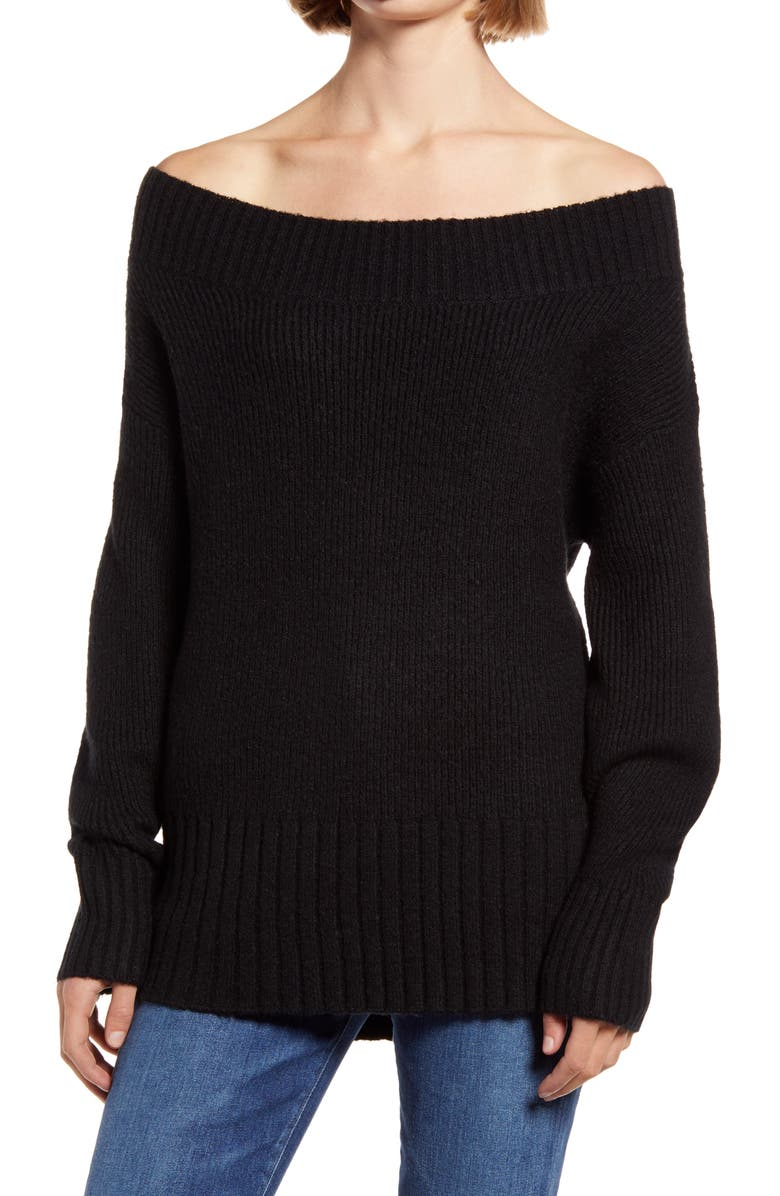 CHELSEA28 Ribbed Off the Shoulder Sweater, Main, color, 001