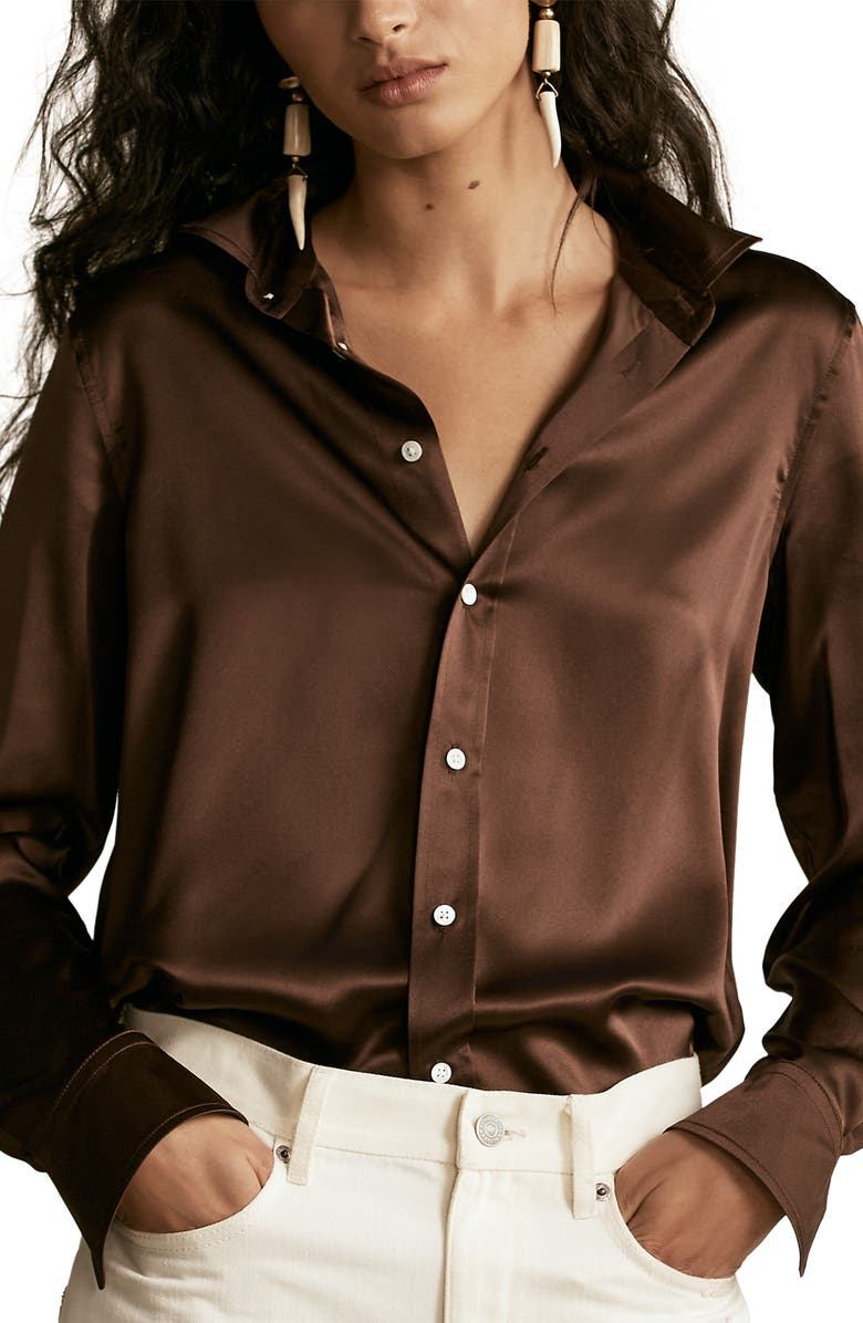 POLO RALPH LAUREN Silk Charmeuse Blouse, Main, color, MOHICAN BROWN