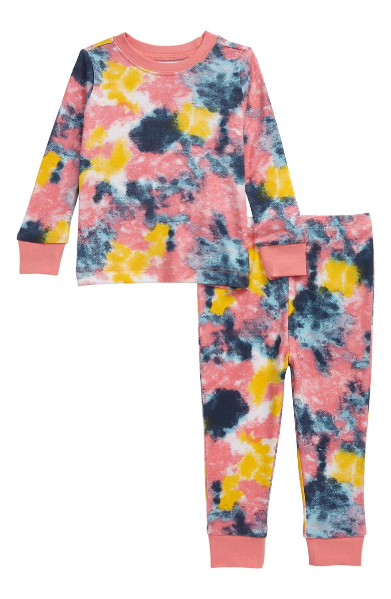 TUCKER + TATE Fitted Two-Piece Pajamas, Main, color, WHITE MULTI TIE DYE