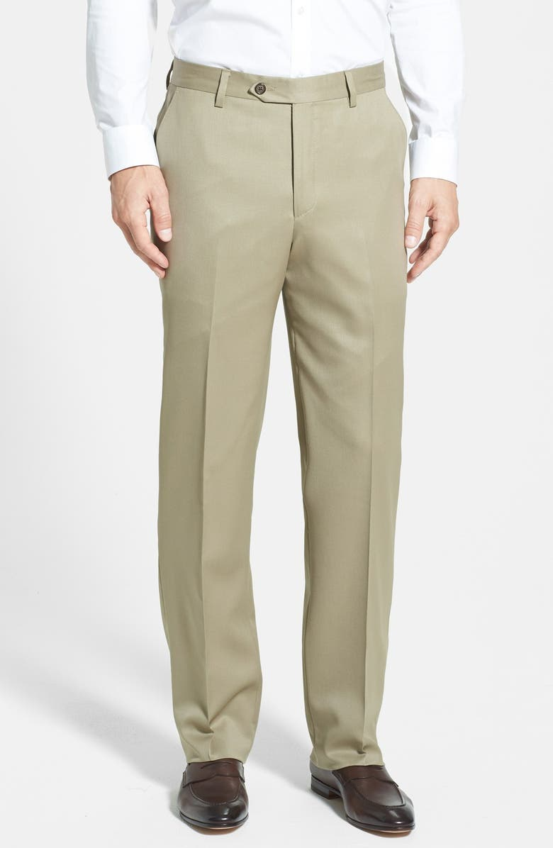 BERLE Flat Front Classic Fit Wool Gabardine Dress Pants, Main, color, TAN