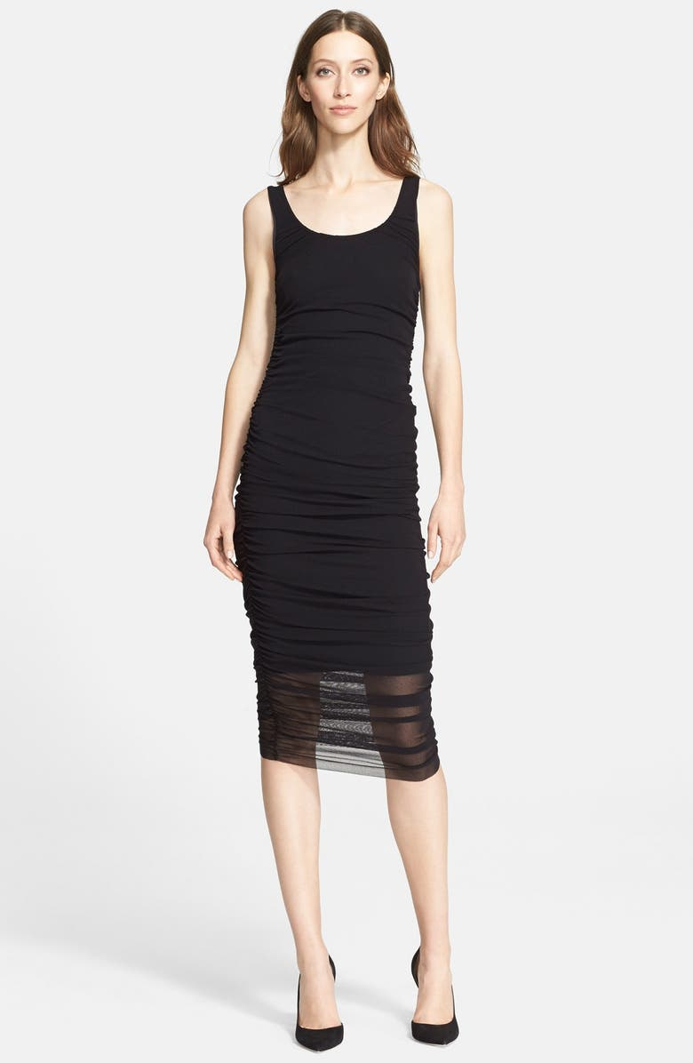 JEAN PAUL GAULTIER Ruched Tulle Tank Dress, Main, color, 001