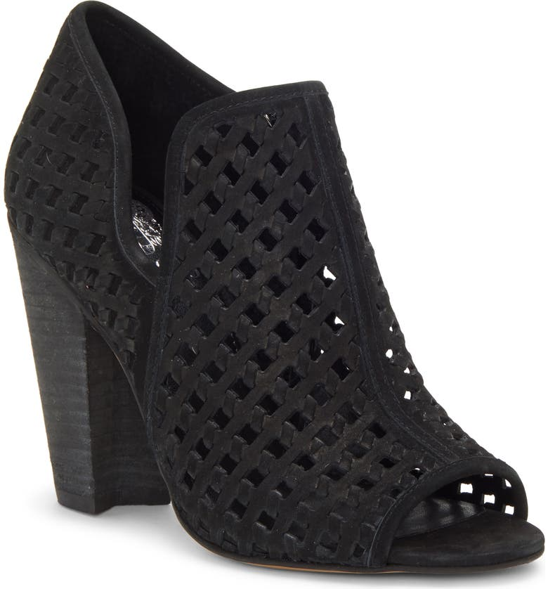VINCE CAMUTO Korlettan Perforated Peep Toe Bootie, Main, color, 001