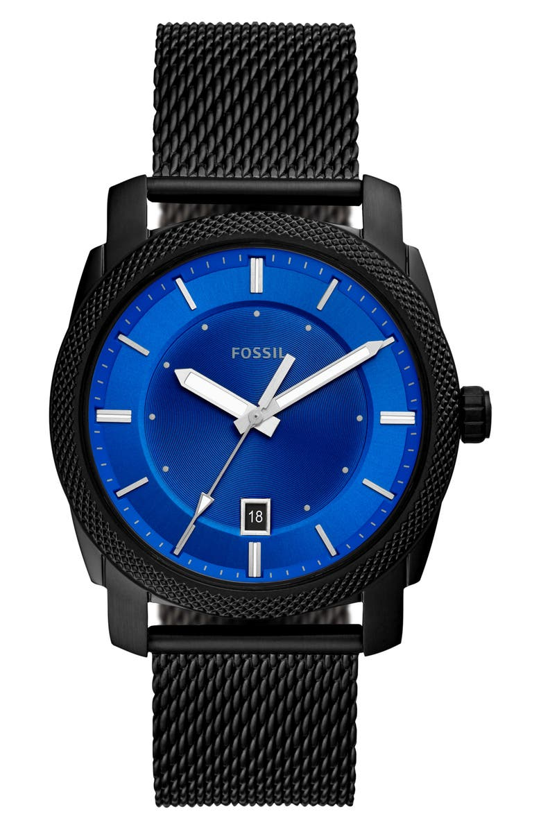 FOSSIL Machine Mesh Strap Watch, 42mm, Main, color, 001
