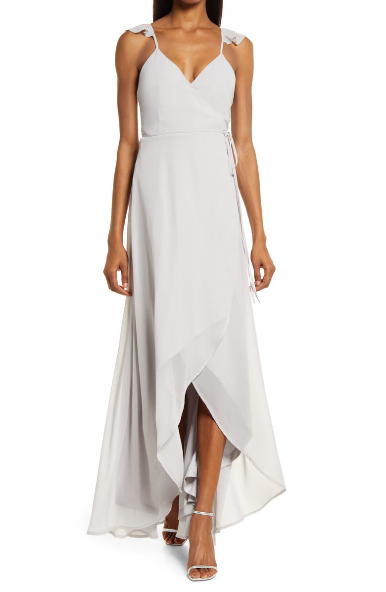 LULUS Here's to Us High/Low Wrap Evening Dress, Main, color, LIGHT GREY