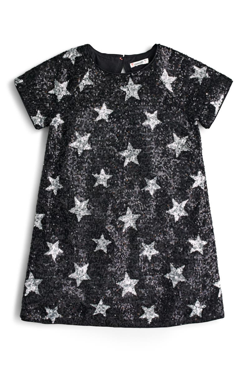CREWCUTS BY J.CREW Sequin Star Short Sleeve Dress, Main, color, 001