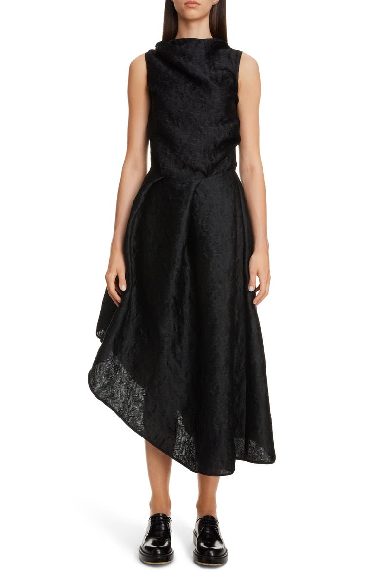 CECILIE BAHNSEN Elba Wave Plissé Asymmetrical Dress, Main, color, 001