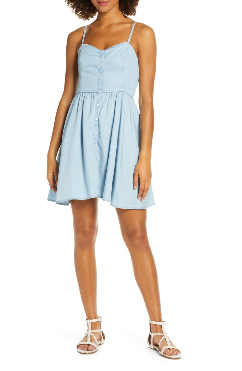 FRENCH CONNECTION Button Front Dress, Main, color, 451