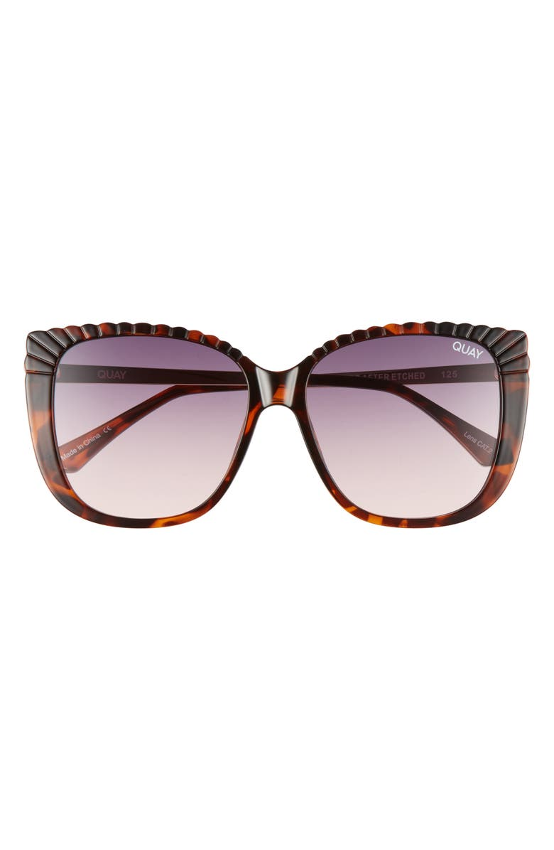 QUAY AUSTRALIA Ever After 58mm Gradient Etched Square Sunglasses, Main, color, TORT/ SMOKE PINK GRADIENT