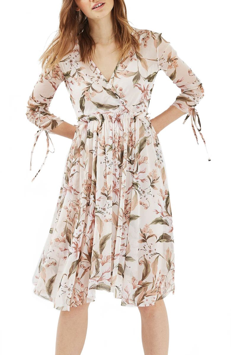 TOPSHOP Lily Floral Mesh Dress, Main, color, IVORY MULTI