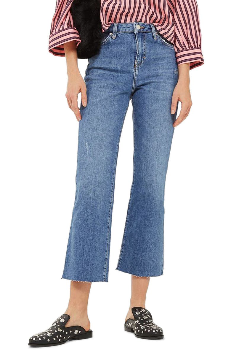TOPSHOP Dree Crop Flare Jeans, Main, color, 400