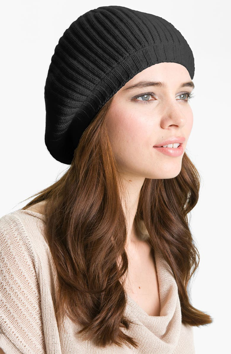 NORDSTROM COLLECTION Ribbed Cashmere Beret, Main, color, 001