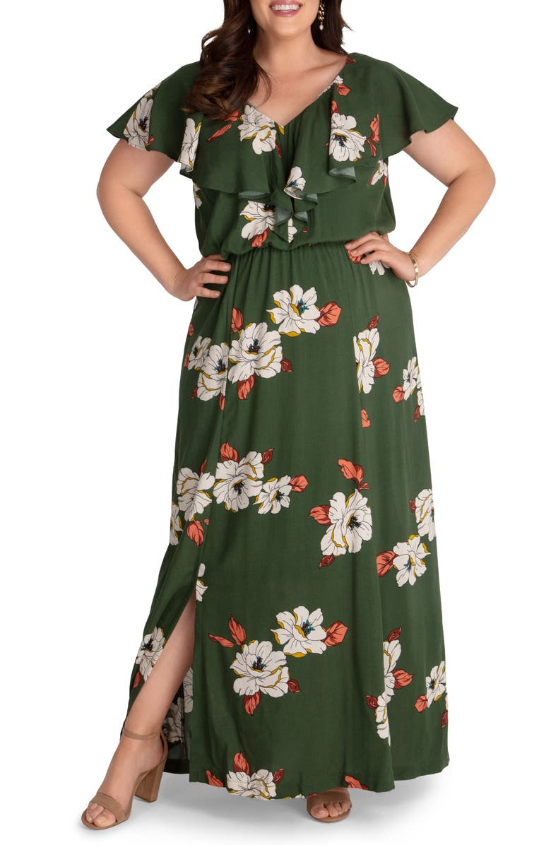KIYONNA Willow Crepe Maxi Dress, Main, color, OLIVE FLOWERS