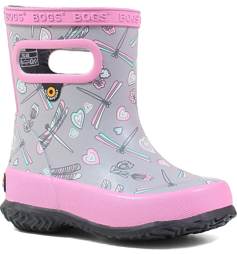 BOGS Skipper Dragonfly Rubber Rain Boot, Main, color, LIGHT GRAY MULTI