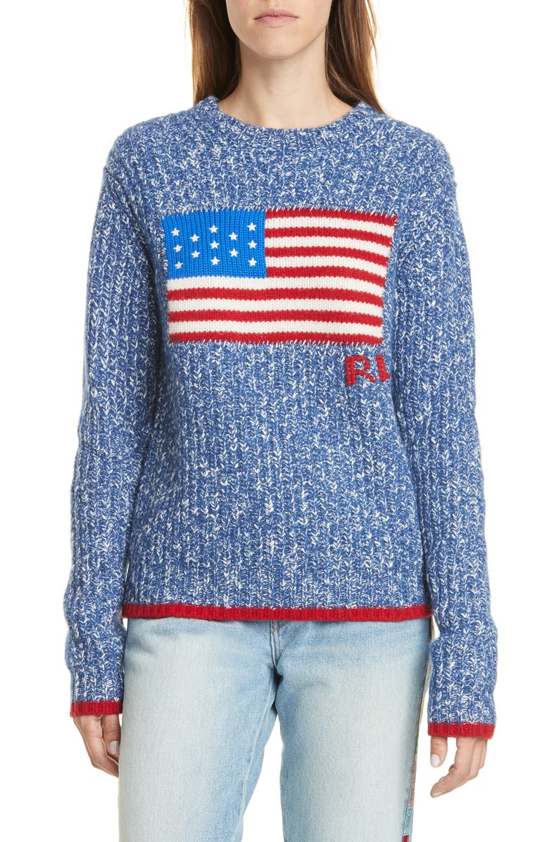 POLO RALPH LAUREN Flag Wool & Cashmere Sweater, Main, color, 405