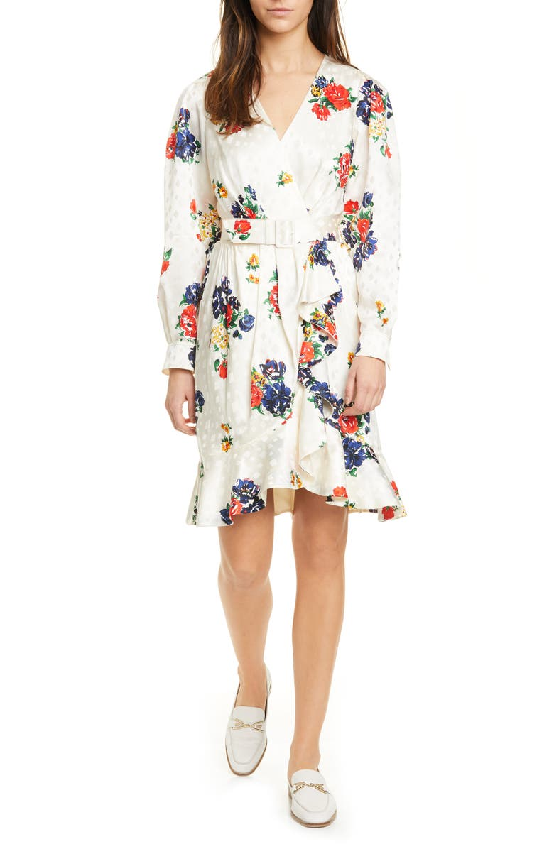TORY BURCH Floral Print Long Sleeve Silk Wrap Dress, Main, color, 900