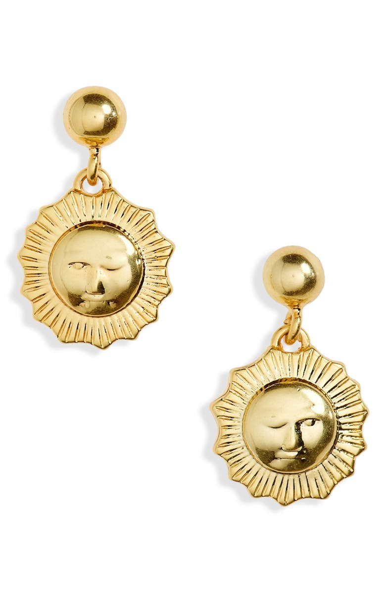 MADEWELL Sundial Drop Earrings, Main, color, VINTAGE GOLD