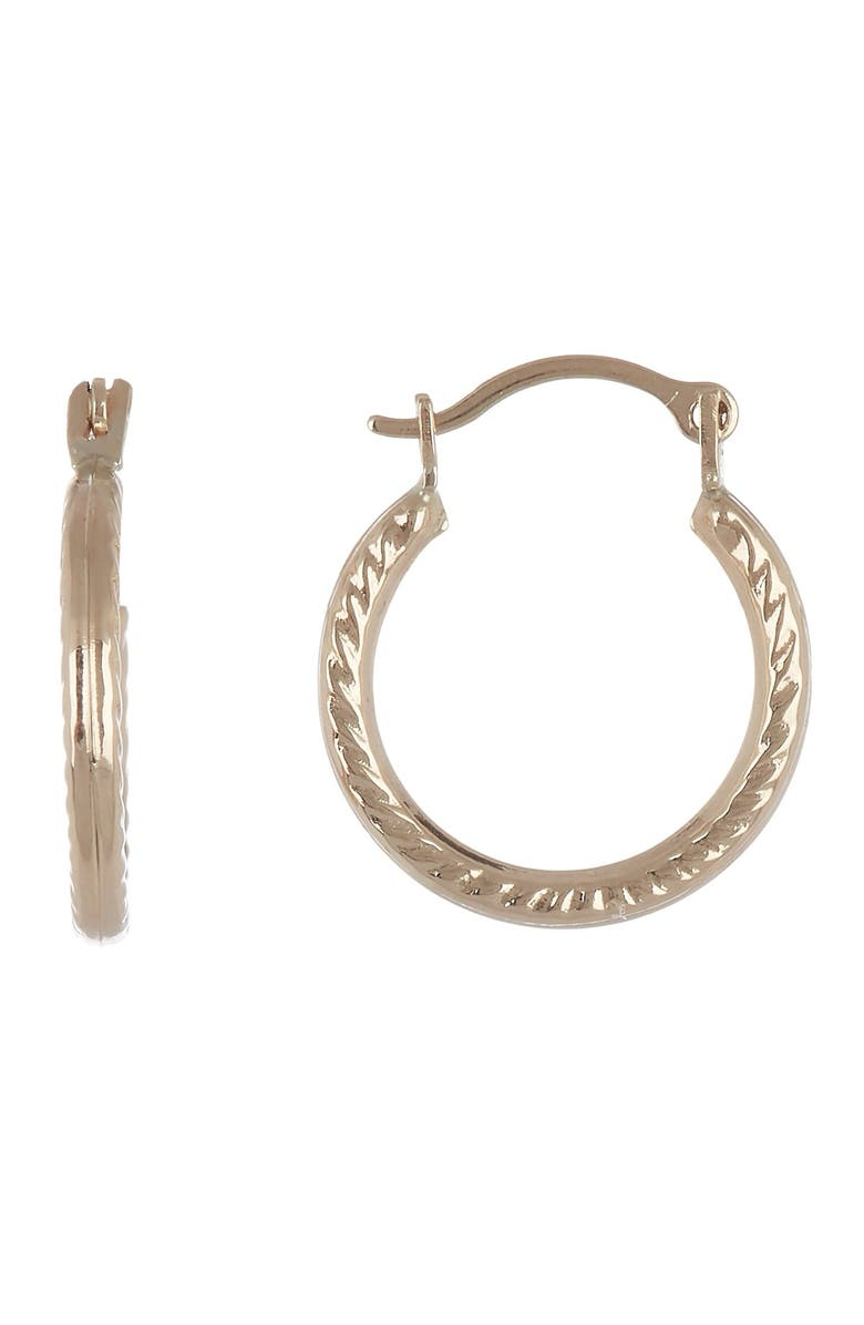 CANDELA JEWELRY 14K Yellow Gold 12.5mm Petite Ribbed Hoop Earrings, Main, color, GOLD