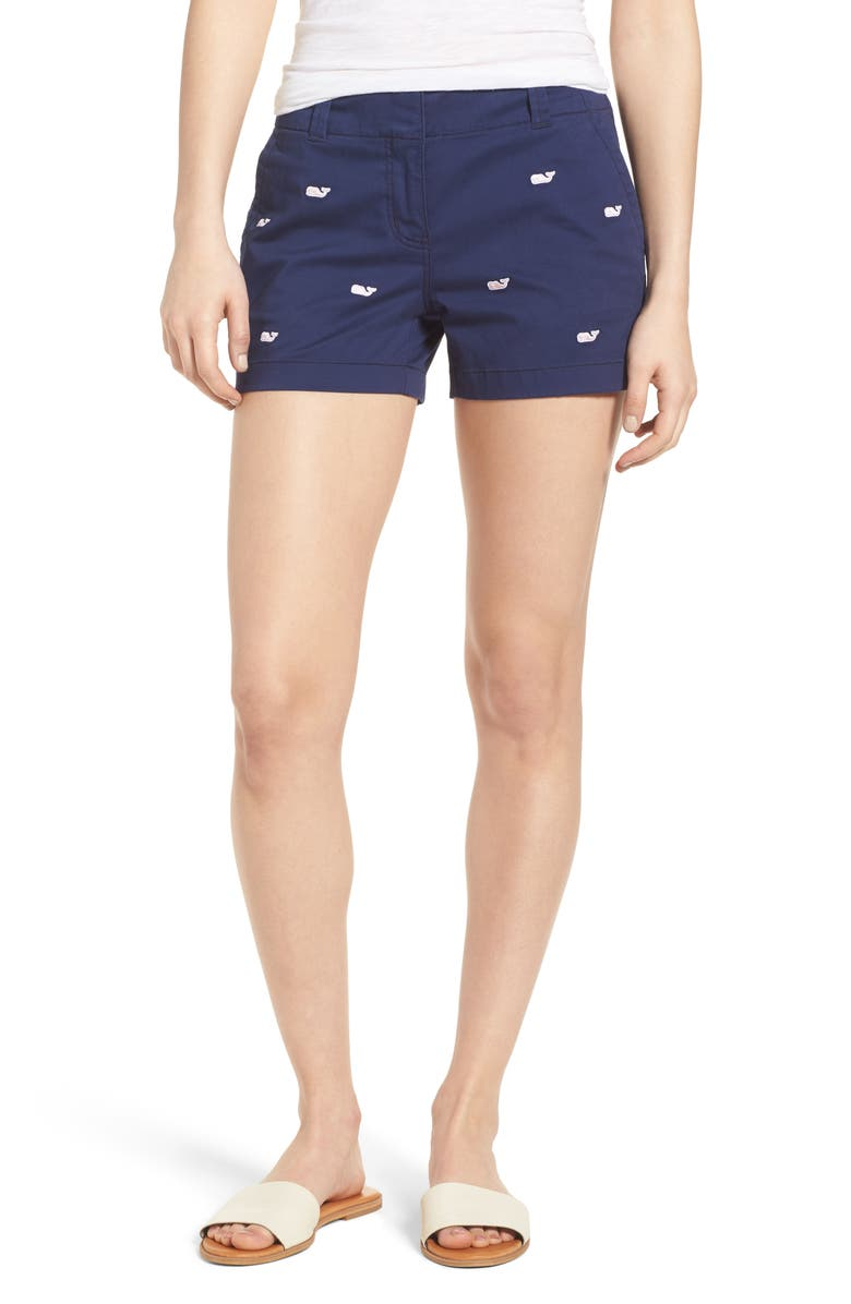 VINEYARD VINES Whale Embroidered Chino Shorts, Main, color, DEEP BAY