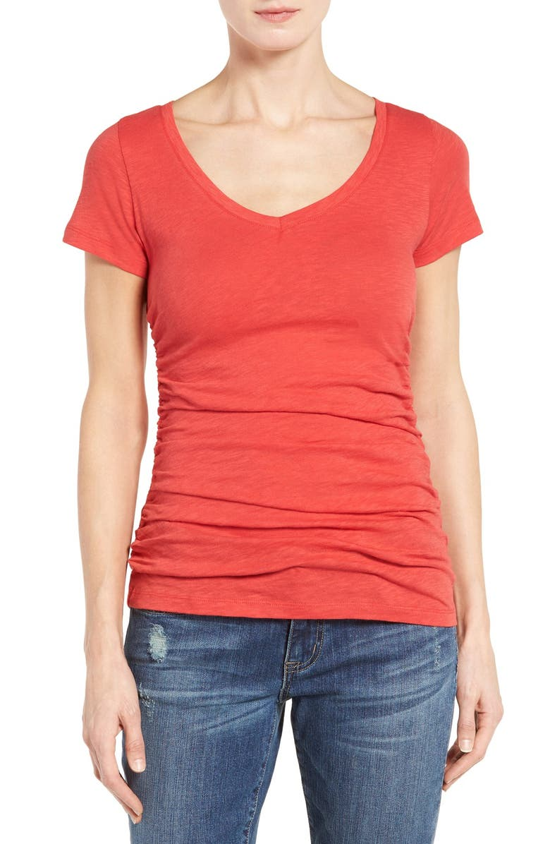 CASLON<SUP>®</SUP> Shirred V-Neck Tee, Main, color, RED EARTH
