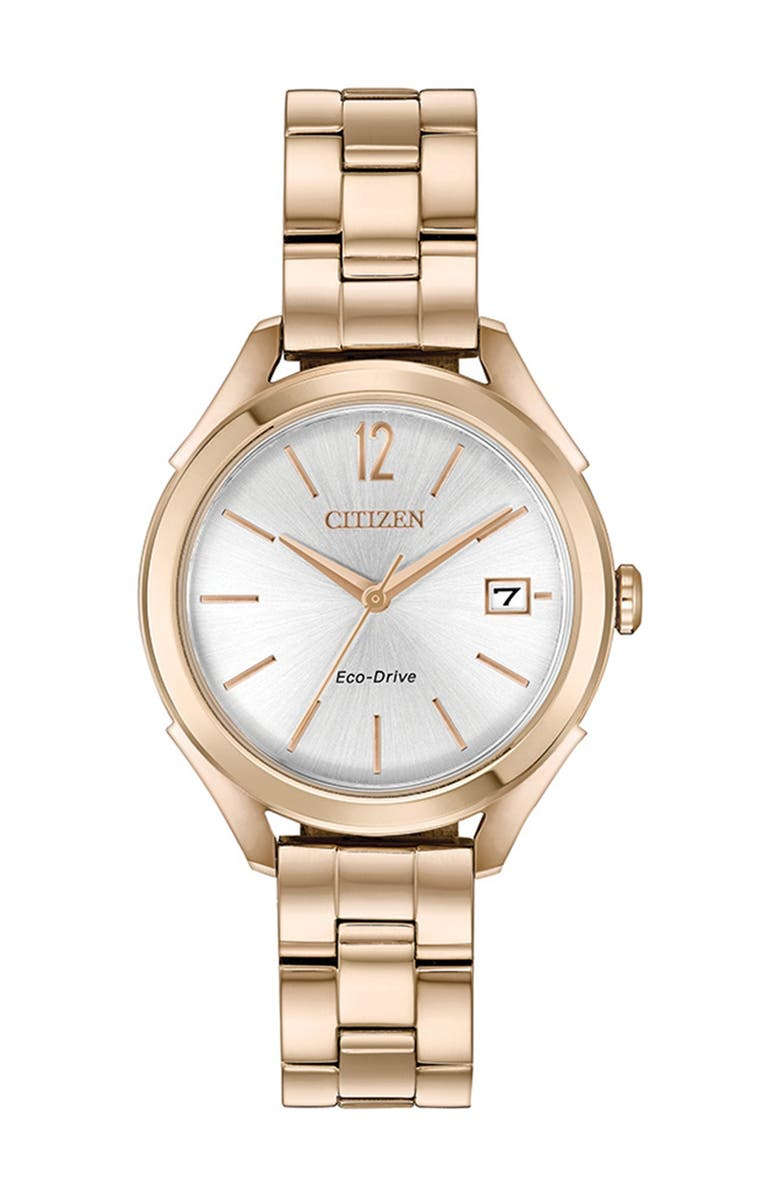 CITIZEN Women's Standard Stainless Steel Eco-Drive Watch, 34mm, Main, color, GOLD