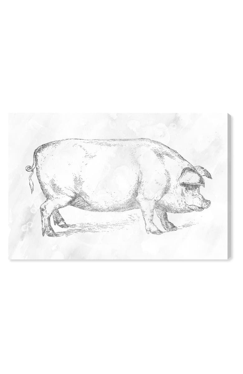 OLIVER GAL Silver Pig Canvas Wall Art, Main, color, WHITE