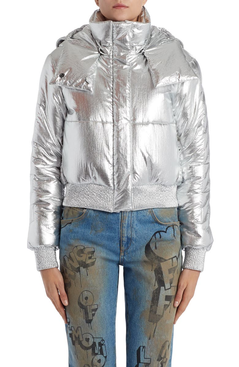 OFF-WHITE Logo Metallic Puffer Jacket, Main, color, 040