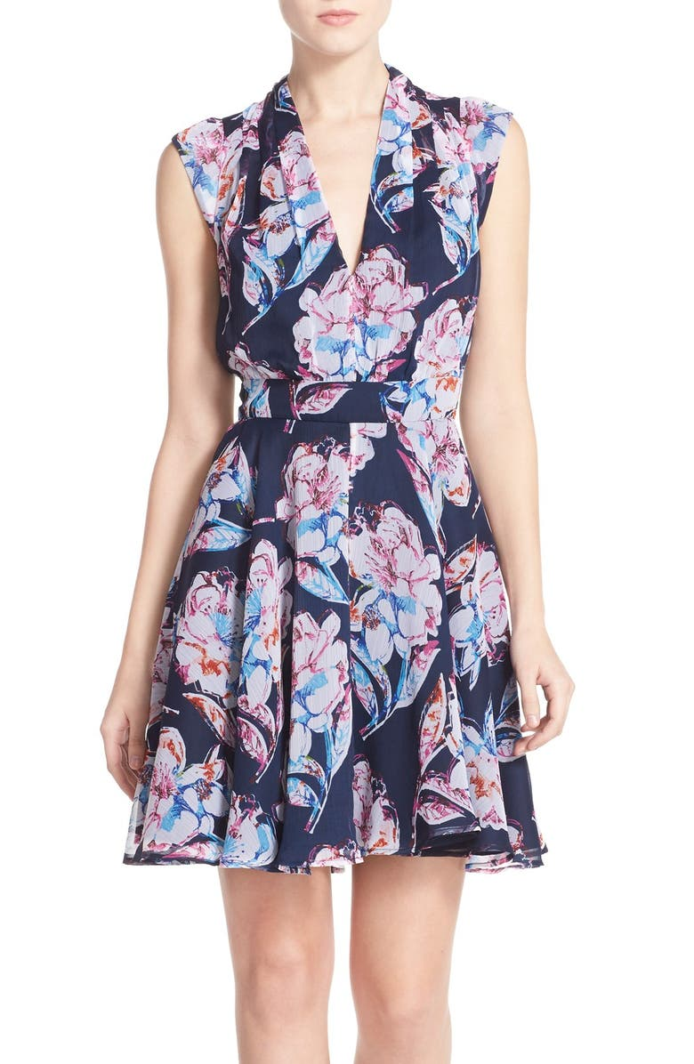 FRENCH CONNECTION Print Chiffon Fit & Flare Dress, Main, color, 402
