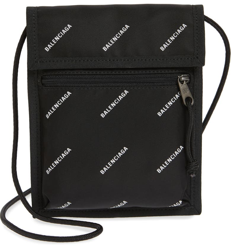 BALENCIAGA Logo Canvas Pouch, Main, color, 011