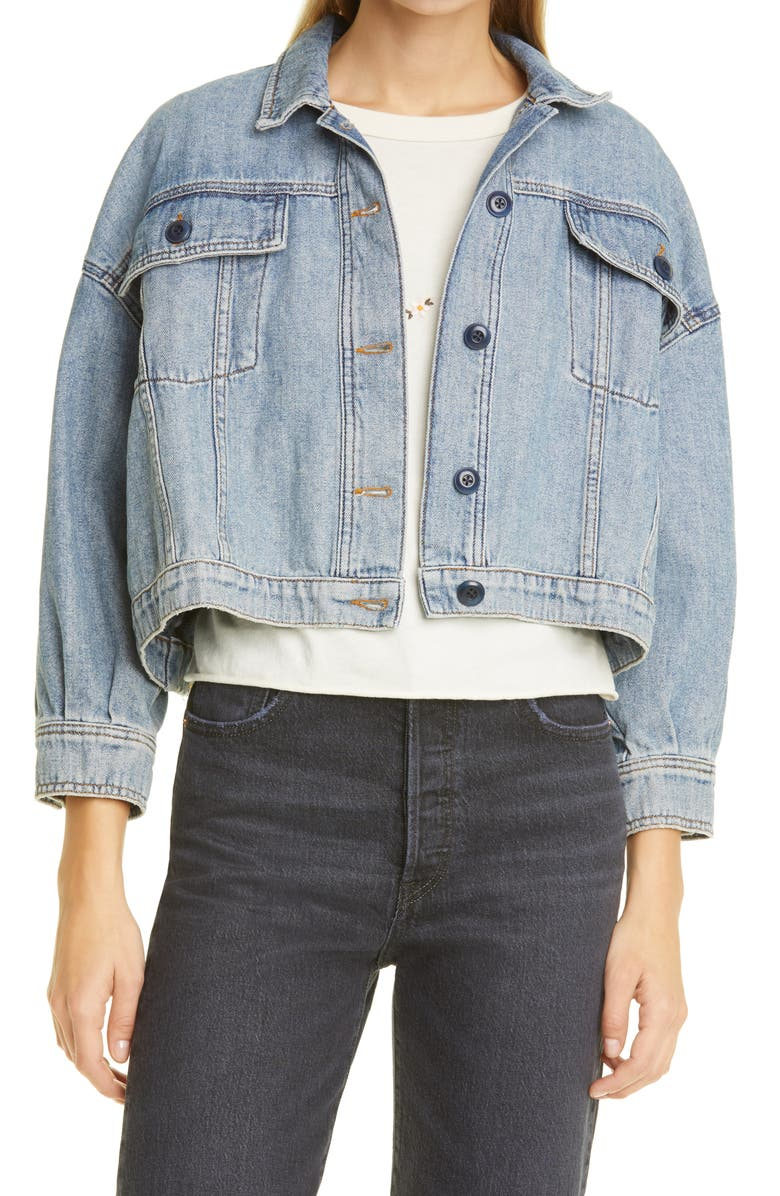 THE GREAT. The Cavalry Denim Jacket, Main, color, SUN BLEACHED BLUE