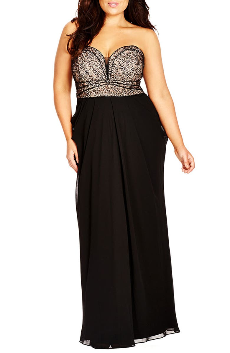 CITY CHIC Motown Strapless Lace & Chiffon Gown, Main, color, Black