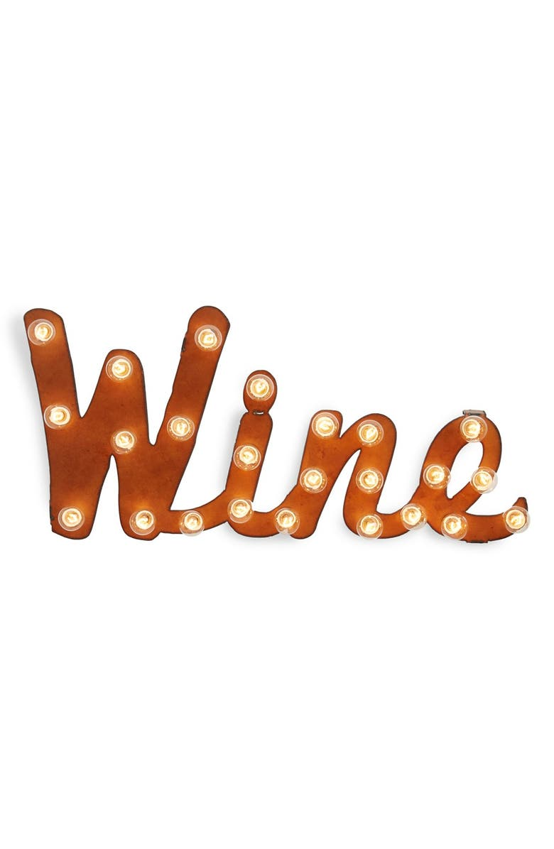 UNIVERSAL IRONWORKS 'Marquee Lights - Wine' Recycled Metal Sign, Main, color, Brown