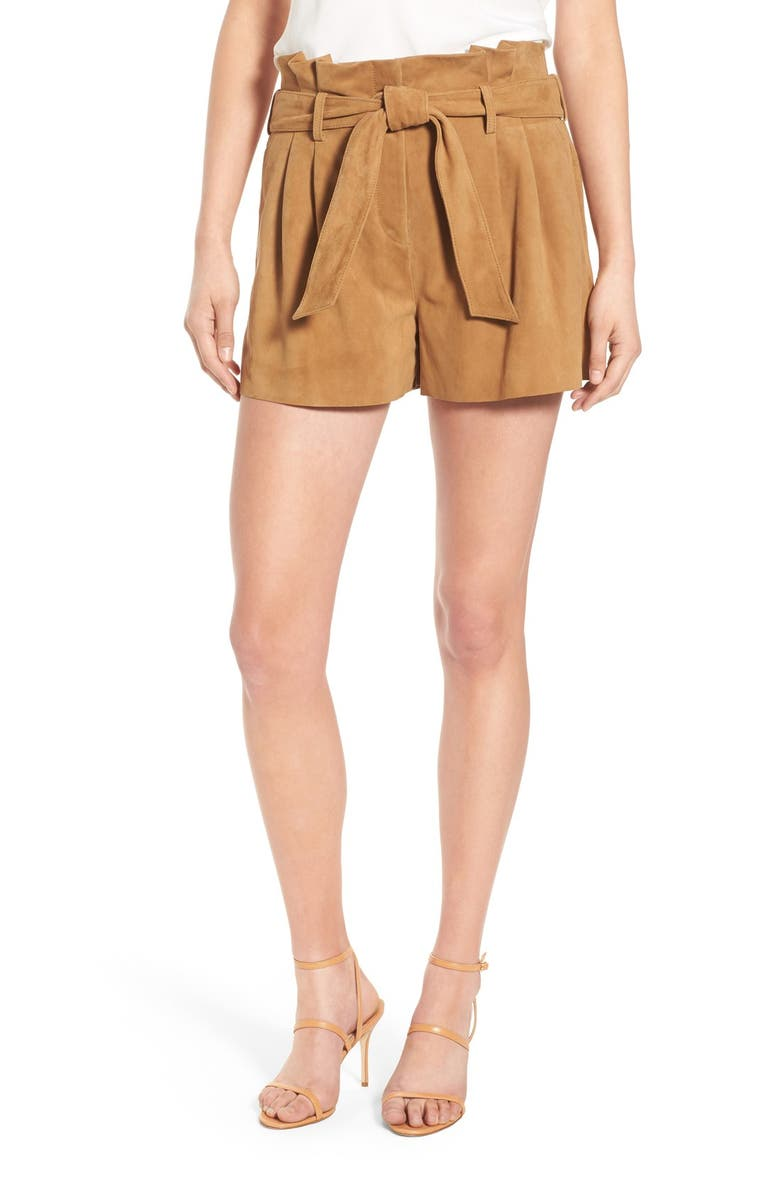 OLIVIA PALERMO + CHELSEA28 Belted Suede Shorts, Main, color, BROWN BISTRE