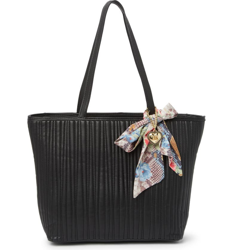 BETSEY JOHNSON Mya Scarf Strap Tote Bag, Main, color, BLACK WITH SNAKE FLORAL SCARF