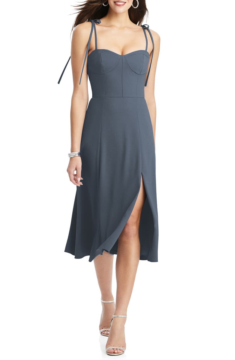 DESSY COLLECTION Bustier Crepe A-Line Dress, Main, color, SILVERSTONE