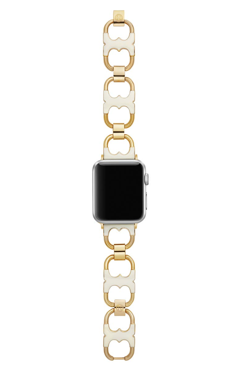 TORY BURCH Double-T Link Apple Watch<sup>®</sup> Bracelet, Main, color, IVORY