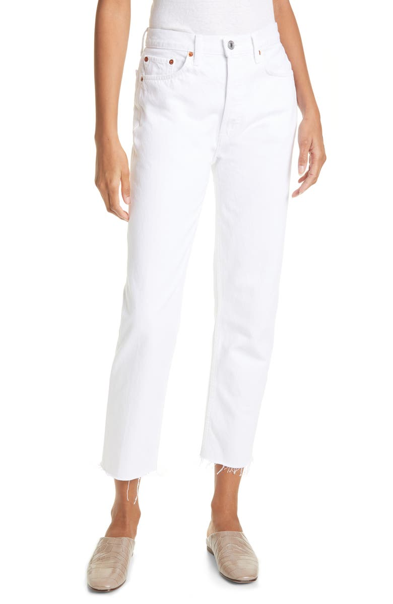 RE/DONE Originals High Waist Stove Pipe Jeans, Main, color, WHITE 1