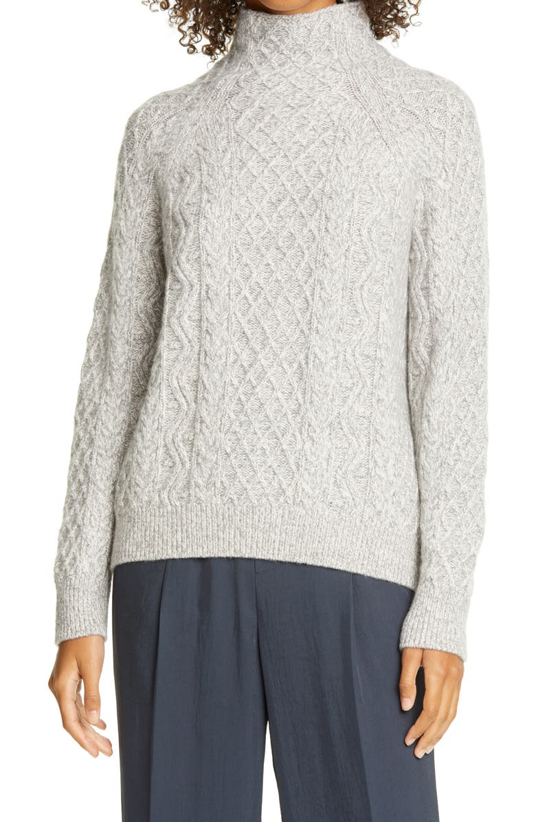 VINCE Cable Mock Neck Merino Wool Blend Sweater, Main, color, 020