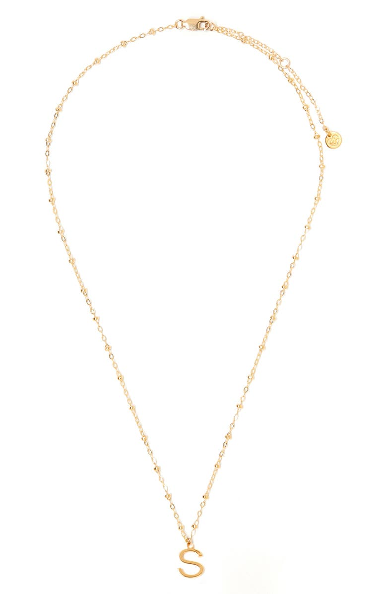 TESS + TRICIA Initial Pendant Necklace, Main, color, GOLD S