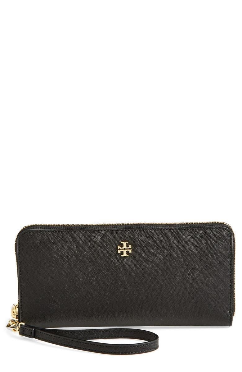 TORY BURCH 'York' Leather Continental Wallet, Main, color, Black