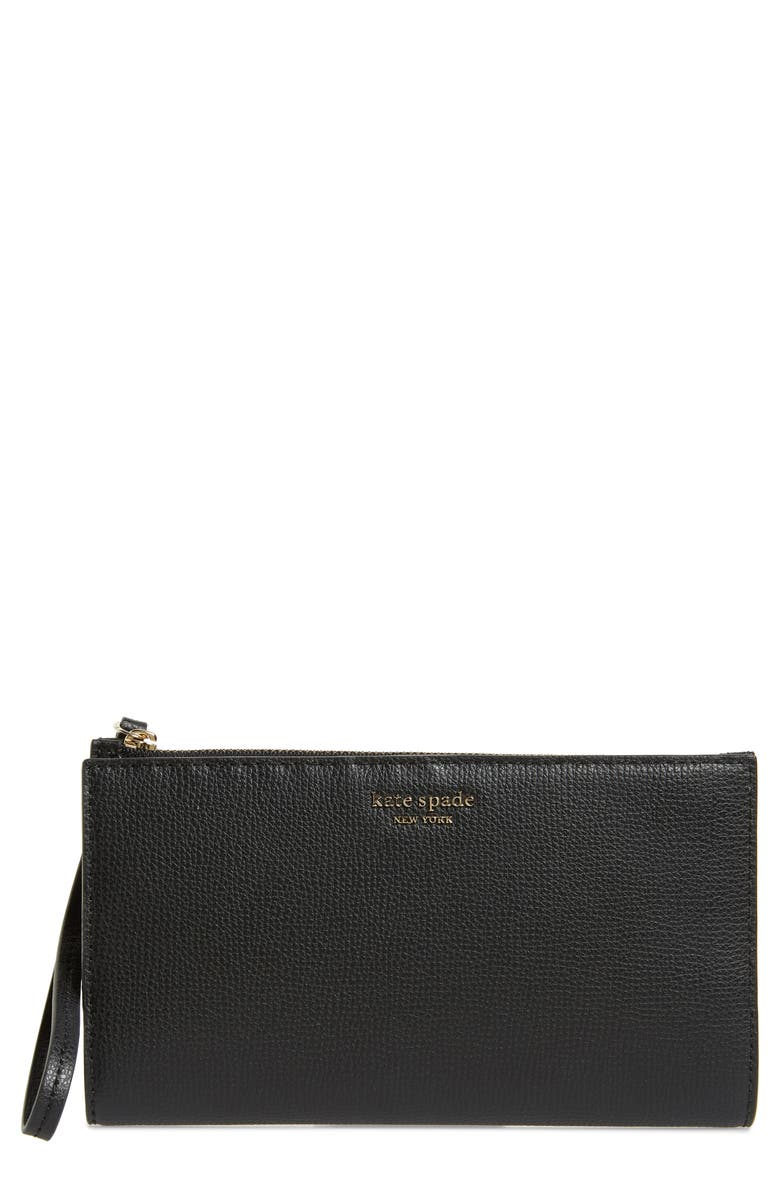 KATE SPADE NEW YORK large sylvia leather wristlet, Main, color, 001