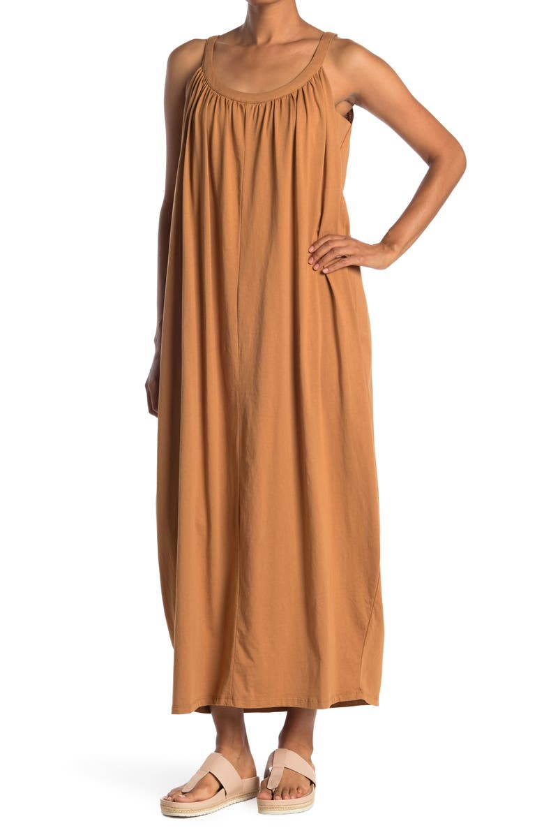 STITCHDROP Scoop Neck Sleeveless Maxi Dress, Main, color, TOFFEE