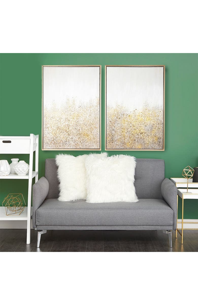 COSMO BY COSMOPOLITAN Multimedia White & Gold Abstract Glitter Art Painting - Set of 2, Main, color, GOLD
