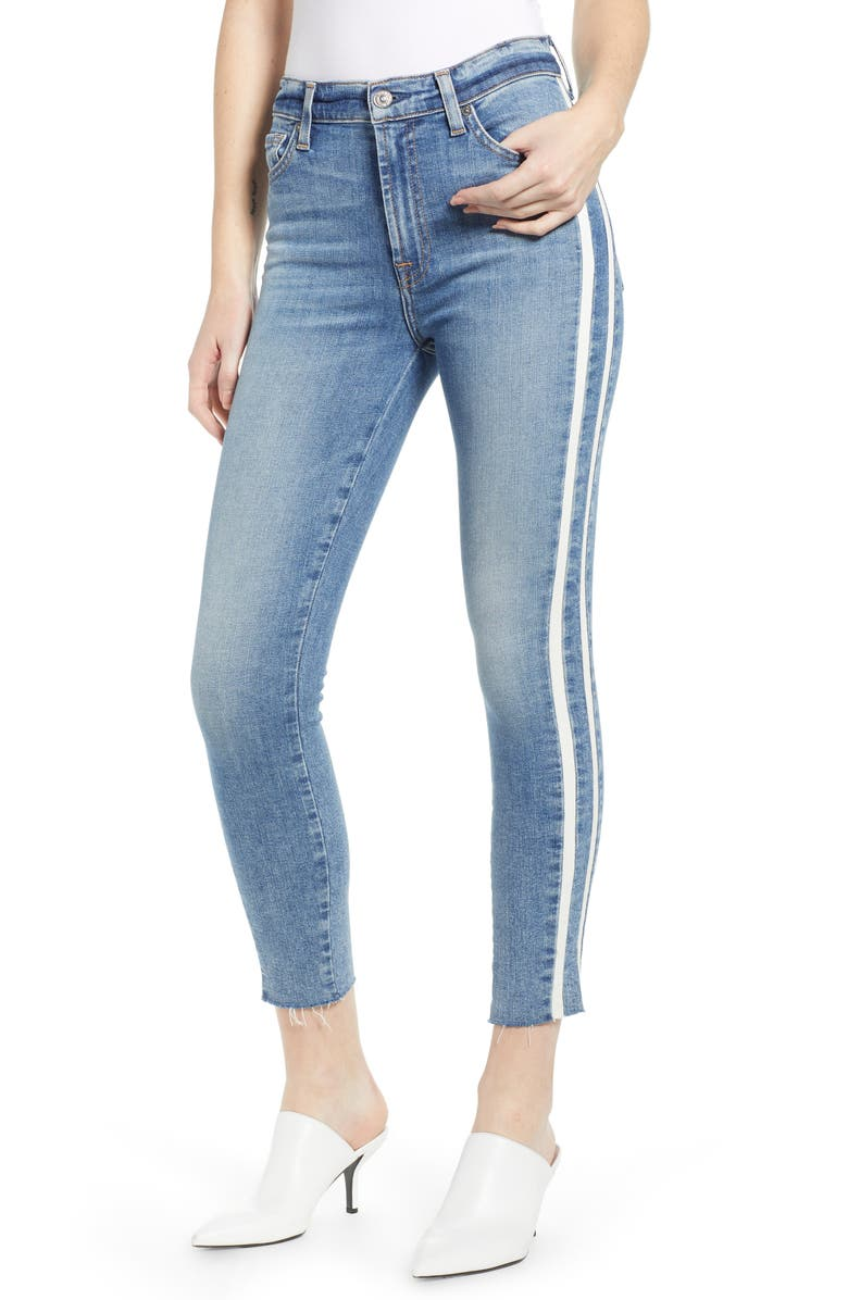 7 FOR ALL MANKIND<SUP>®</SUP> Side Stripe Ankle Skinny Jeans, Main, color, 400