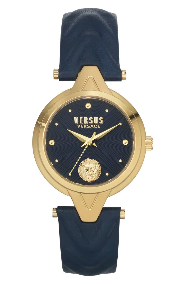 VERSUS VERSACE Forlanni Leather Strap Watch, 30mm, Main, color, IP YELLOW GOLD