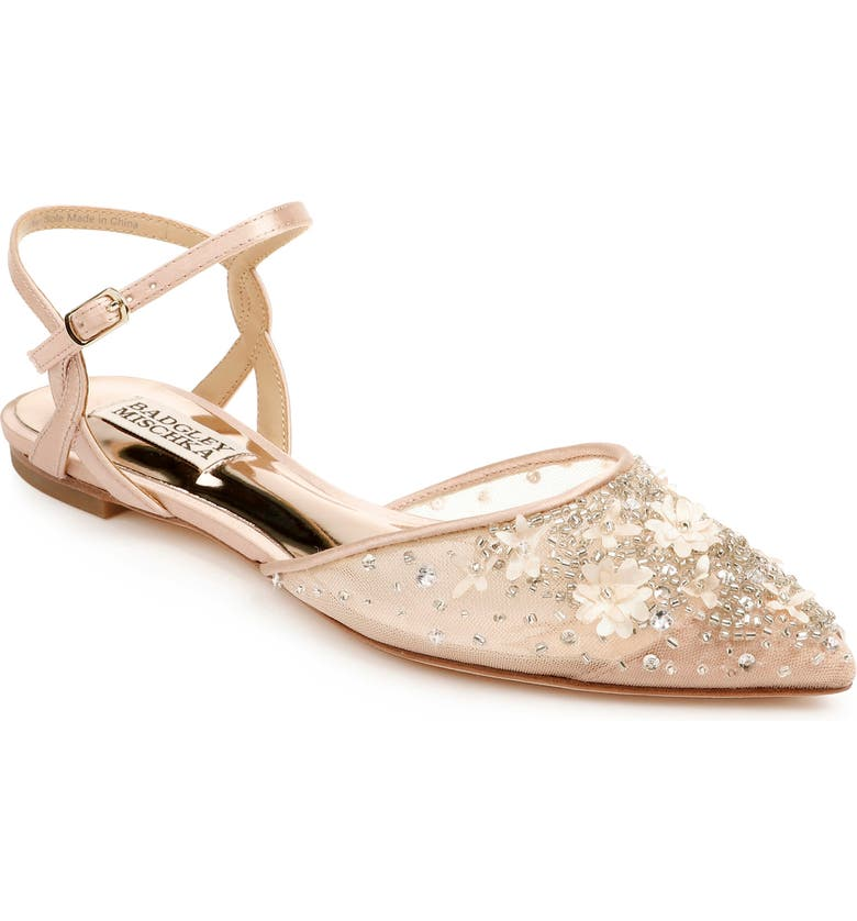 BADGLEY MISCHKA COLLECTION Carissa Embroidered Pointed Toe Flat, Main, color, SOFT BLUSH SATIN