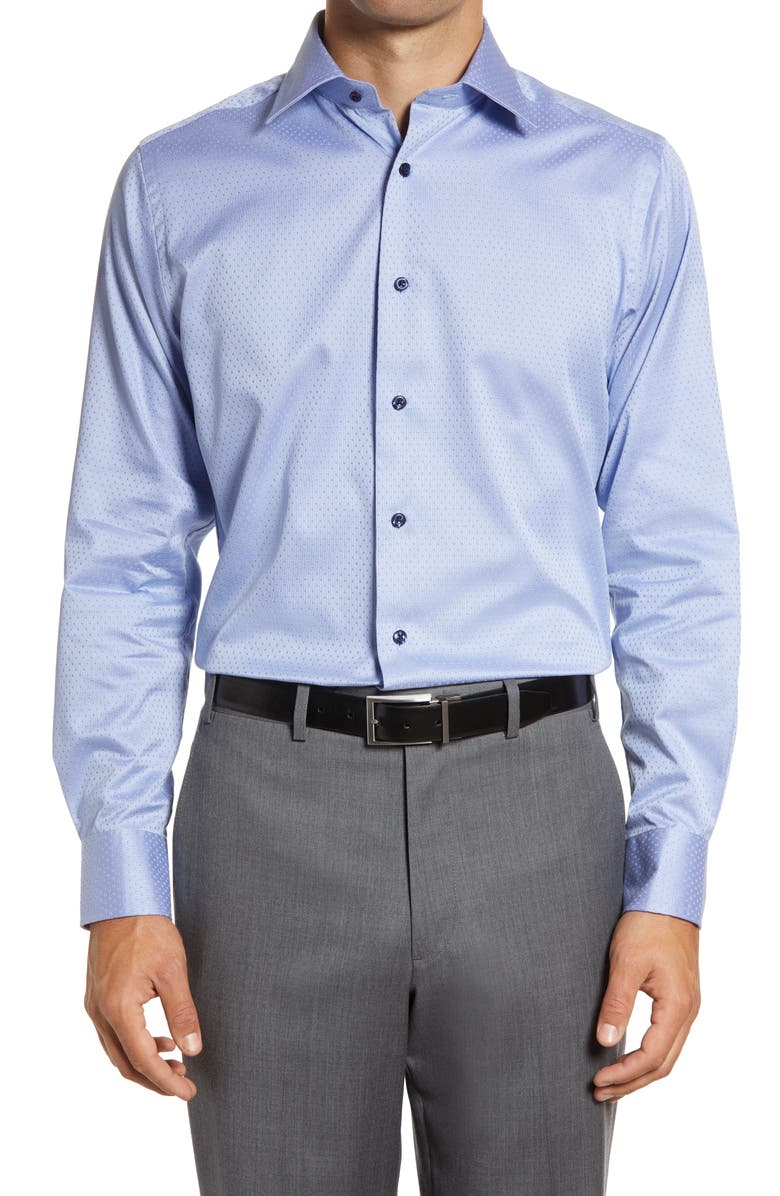 DAVID DONAHUE Trim Fit Geometric Dress Shirt, Main, color, BLUE