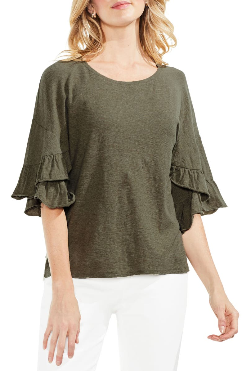 VINCE CAMUTO Tiered Ruffle Sleeve Top, Main, color, 371
